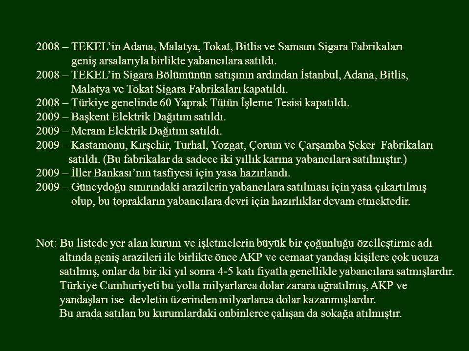 2008 – TEKEL'in Adana, Malatya, Tokat, Bitlis ve Samsun Sigara Fabrikaları geniş arsalarıyla birlikte yabancılara satıldı.