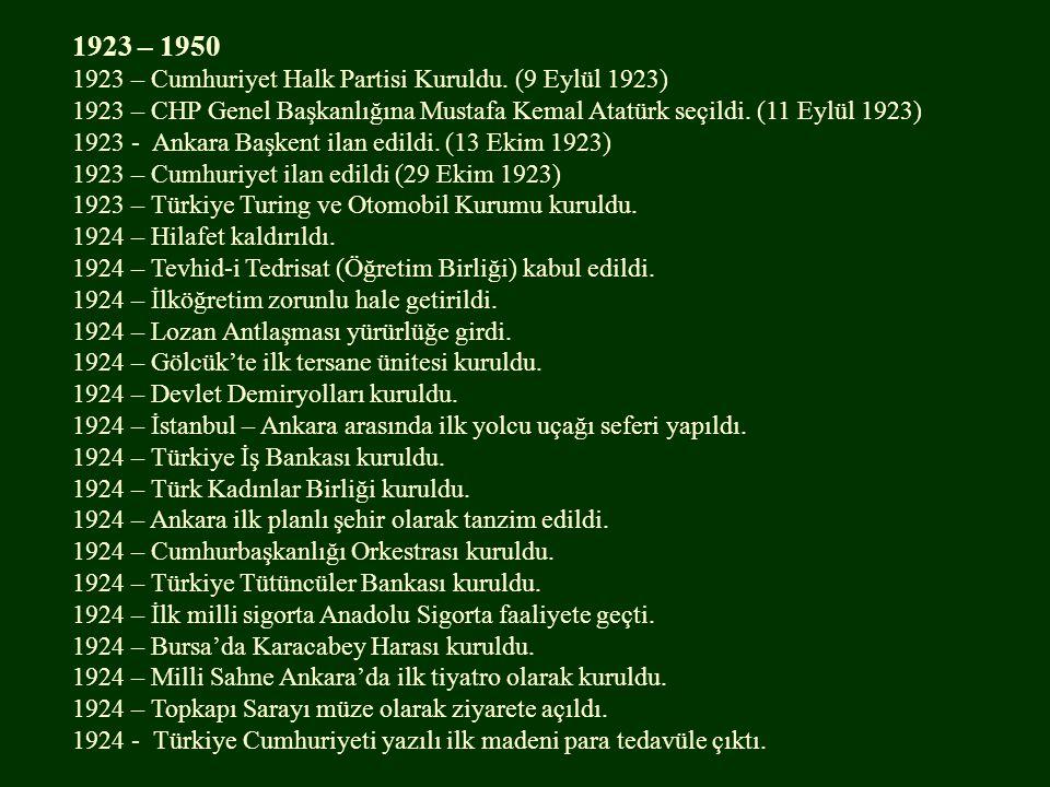1923 – 1950 1923 – Cumhuriyet Halk Partisi Kuruldu. (9 Eylül 1923) 1923 – CHP Genel Başkanlığına Mustafa Kemal Atatürk seçildi. (11 Eylül 1923) 1923 -