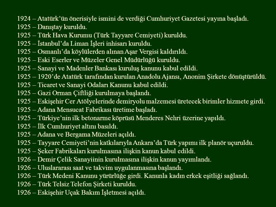 1924 – Atatürk'ün önerisiyle ismini de verdiği Cumhuriyet Gazetesi yayına başladı. 1925 – Danıştay kuruldu. 1925 – Türk Hava Kurumu (Türk Tayyare Cemi