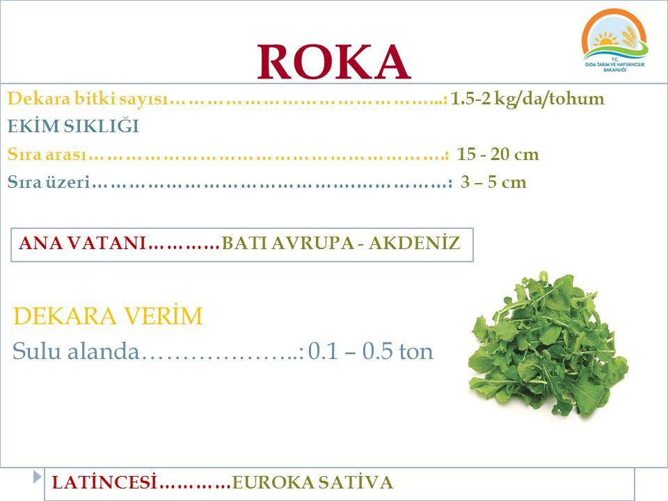 ROKA Dekara bitki sayısı……………………………………...: 1.5-2 kg/da/tohum EKİM SIKLIĞI Sıra arası………………………………………………….: 15 - 20 cm Sıra üzeri…………………………………….……………: 3
