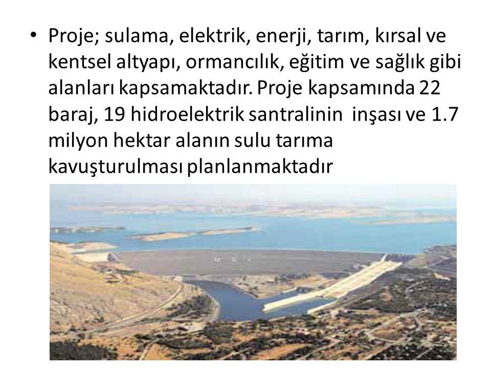 Proje; sulama, elektrik, enerji, tarım, kırsal ve kentsel altyapı, ormancılık, eğitim ve sağlık gibi alanları kapsamaktadır. Proje kapsamında 22 baraj