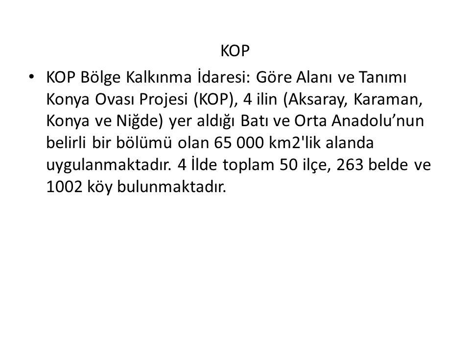 KOP KOP Bölge Kalkınma İdaresi: Göre Alanı ve Tanımı Konya Ovası Projesi (KOP), 4 ilin (Aksaray, Karaman, Konya ve Niğde) yer aldığı Batı ve Orta Anadolu'nun belirli bir bölümü olan 65 000 km2 lik alanda uygulanmaktadır.