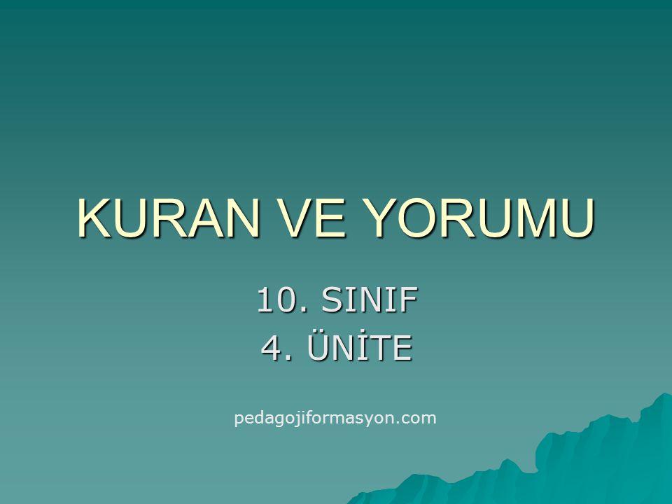 KAZANIMLAR 1.Kur'an'ın temel amaçlarını Kur'an'dan örnekler vererek açıklar.