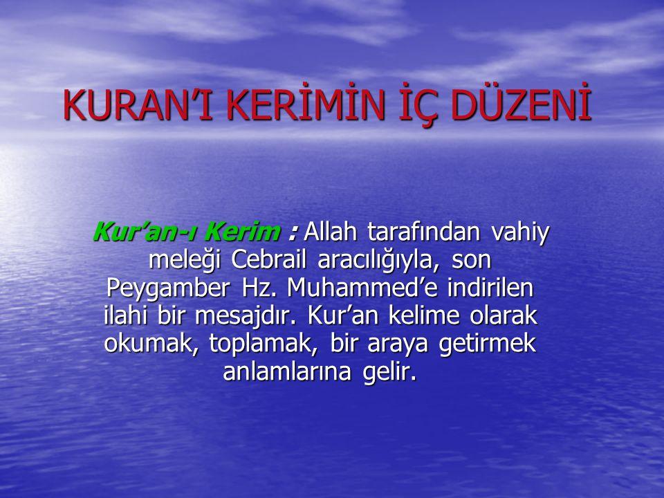 KURAN'I KERİMİN İÇ DÜZENİ Kur'an-ı Kerim : Allah tarafından vahiy meleği Cebrail aracılığıyla, son Peygamber Hz. Muhammed'e indirilen ilahi bir mesajd