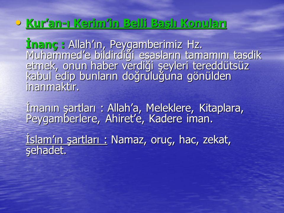 Kur'an-ı Kerim'in Belli Başlı Konuları İnanç : Allah'ın, Peygamberimiz Hz. Muhammed'e bildirdiği esasların tamamını tasdik etmek, onun haber verdiği ş