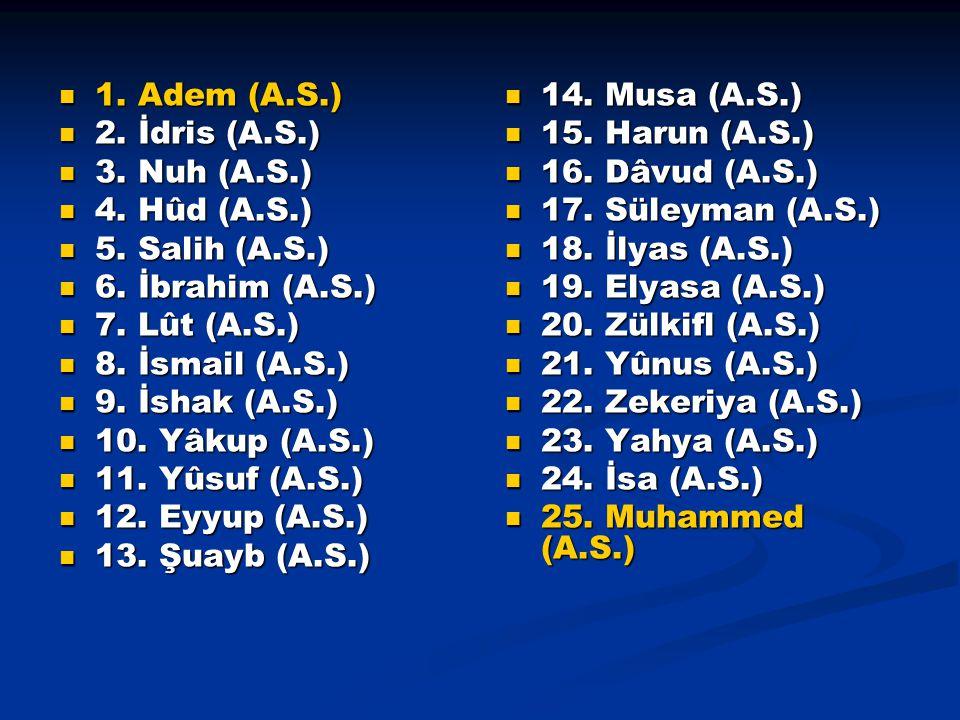 1. Adem (A.S.) 1. Adem (A.S.) 2. İdris (A.S.) 2. İdris (A.S.) 3. Nuh (A.S.) 3. Nuh (A.S.) 4. Hûd (A.S.) 4. Hûd (A.S.) 5. Salih (A.S.) 5. Salih (A.S.)