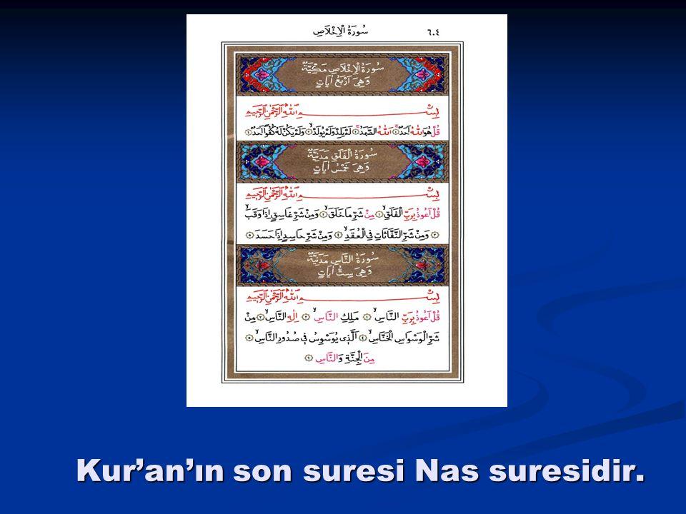 Kur'an'ın son suresi Nas suresidir.
