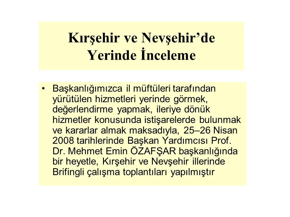 Kırşehir ve Nevşehir'de Yerinde İnceleme Başkanlığımızca il müftüleri tarafından yürütülen hizmetleri yerinde görmek, değerlendirme yapmak, ileriye dö