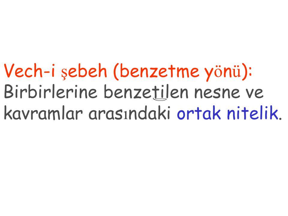 Vech-i ş ebeh (benzetme y ö n ü ): Birbirlerine benzetilen nesne ve kavramlar aras ı ndaki ortak nitelik.