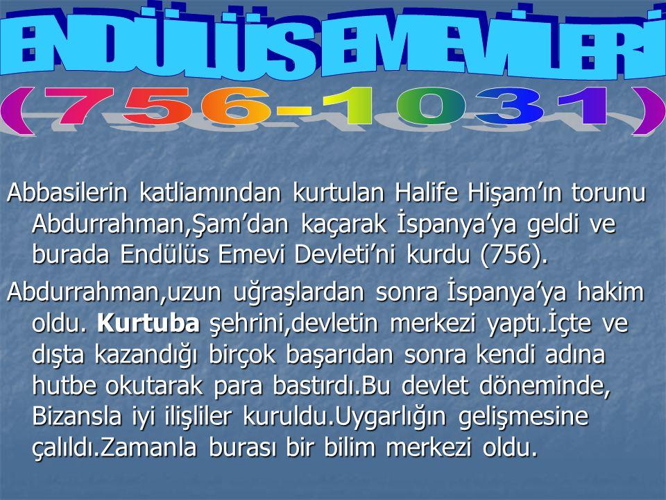 Abbasilerin katliamından kurtulan Halife Hişam'ın torunu Abdurrahman,Şam'dan kaçarak İspanya'ya geldi ve burada Endülüs Emevi Devleti'ni kurdu (756).