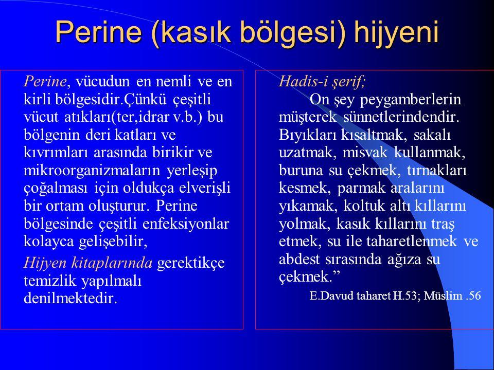 Perine (kasık bölgesi) hijyeni Perine, vücudun en nemli ve en kirli bölgesidir.Çünkü çeşitli vücut atıkları(ter,idrar v.b.) bu bölgenin deri katları v
