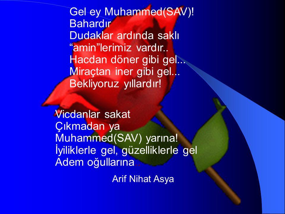 """Gel ey Muhammed(SAV)! Bahardır Dudaklar ardında saklı """"amin""""lerimiz vardır.. Hacdan döner gibi gel... Miraçtan iner gibi gel... Bekliyoruz yıllardır!"""