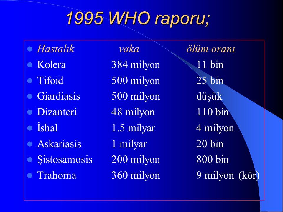 1995 WHO raporu; Hastalık vaka ölüm oranı Kolera384 milyon11 bin Tifoid500 milyon25 bin Giardiasis500 milyondüşük Dizanteri48 milyon110 bin İshal1.5 m