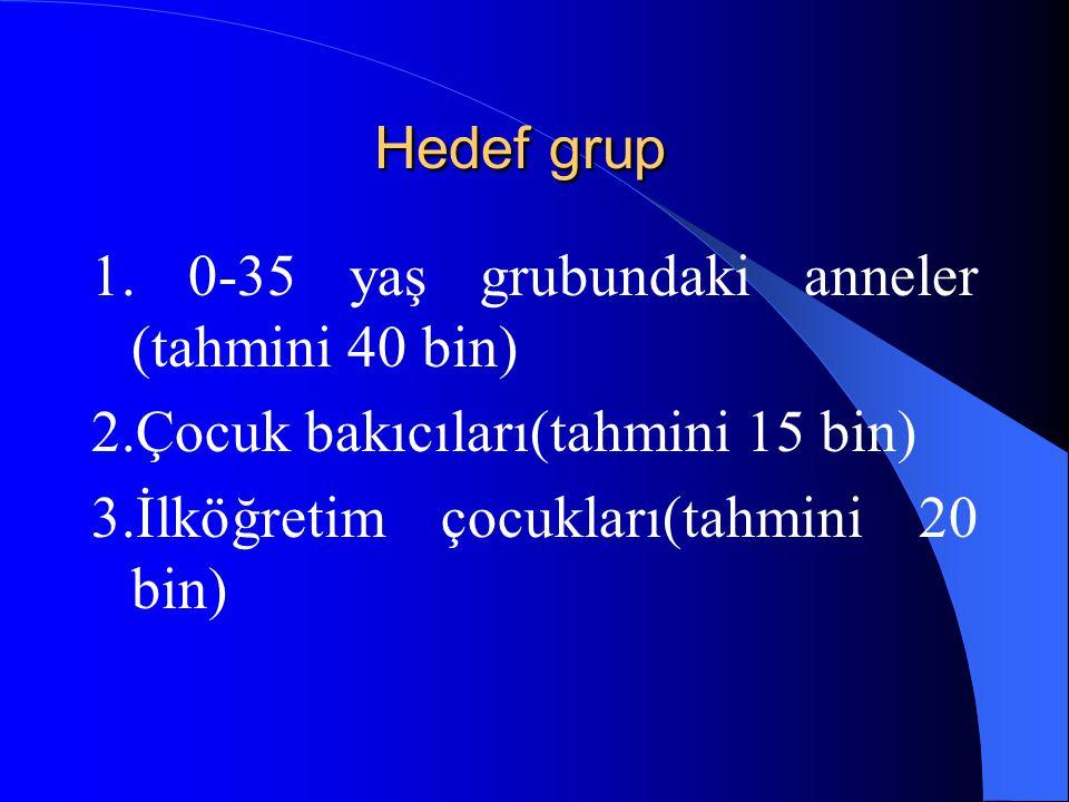 Hedef grup 1. 0-35 yaş grubundaki anneler (tahmini 40 bin) 2.Çocuk bakıcıları(tahmini 15 bin) 3.İlköğretim çocukları(tahmini 20 bin)