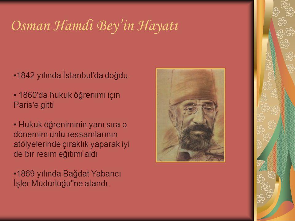 Osman Hamdi Bey'in Hayatı 1842 yılında İstanbul'da doğdu. 1860'da hukuk öğrenimi için Paris'e gitti Hukuk öğreniminin yanı sıra o dönemim ünlü ressaml