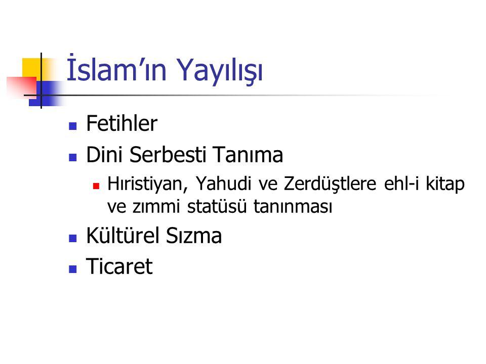 Arap Fetihleri 630'da Bizans'tan Filistin ve Suriye 636'da Sasaniler'den Irak 642'de Sasaniler teslim oldu (İran'ın fethi) Kuzey Afrika'da Berberiler ile savaş ve zafer Endülüs'ün fethi Girit, Kıbrıs, Sicilya ve Malta'nın fethi İstanbul'un kuşatılması Çinliler ile Talas Savaşı