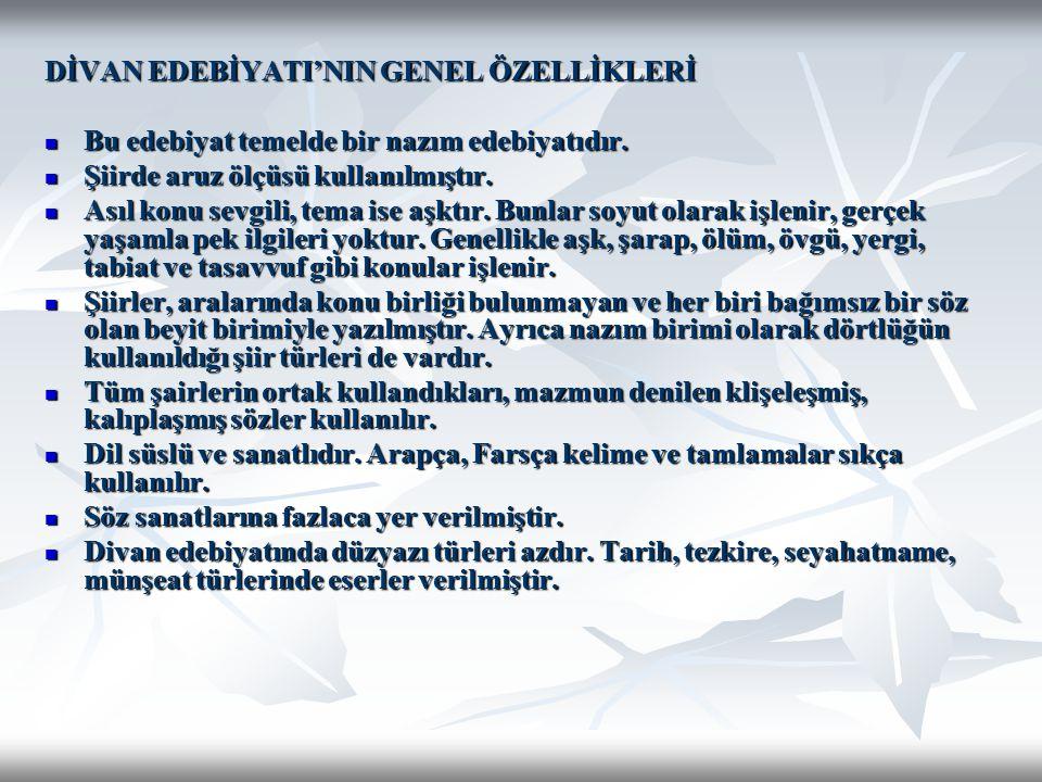 DİVAN EDEBİYATI SANATÇILARI 13.YÜZYIL Hoca Dehhani : Horasan Türklerindendir.