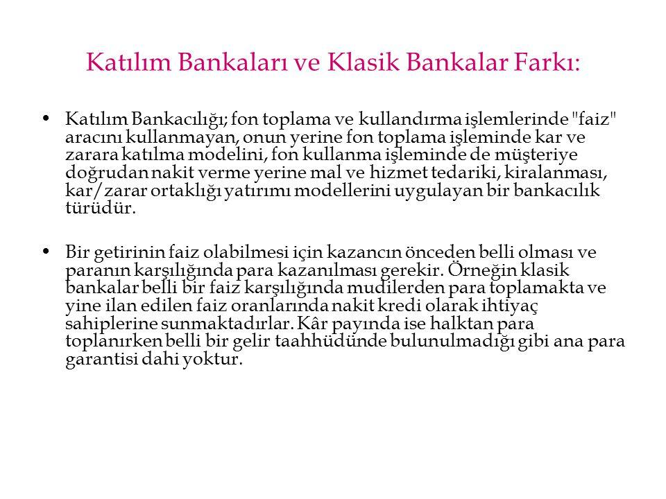 Katılım Bankaları ve Klasik Bankalar Farkı: Katılım Bankacılığı; fon toplama ve kullandırma işlemlerinde