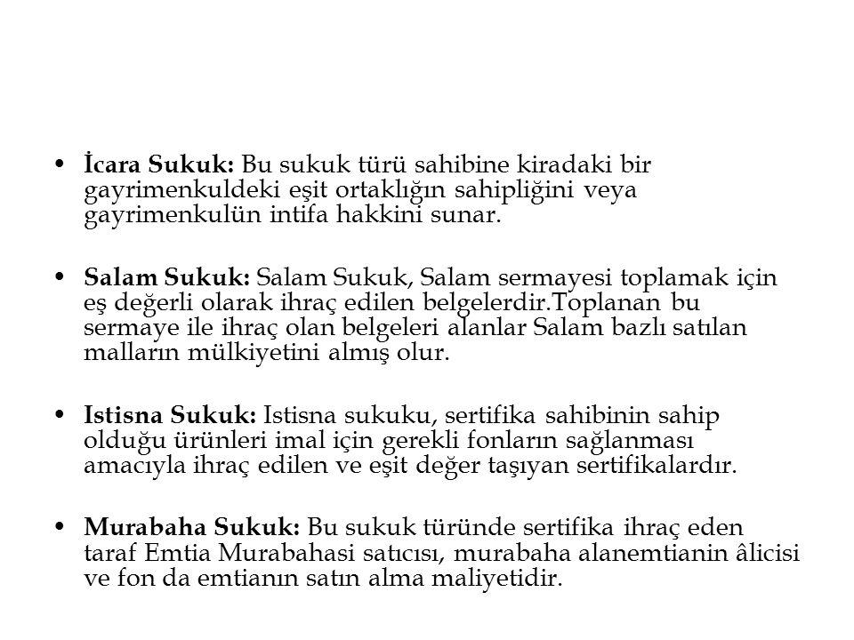 İcara Sukuk: Bu sukuk türü sahibine kiradaki bir gayrimenkuldeki eşit ortaklığın sahipliğini veya gayrimenkulün intifa hakkini sunar. Salam Sukuk: Sal