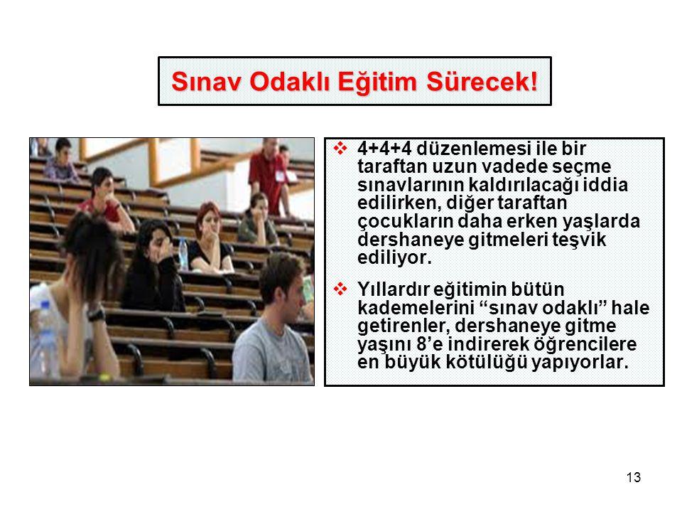 13 Sınav Odaklı Eğitim Sürecek.