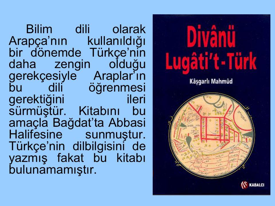 Bilim dili olarak Arapça'nın kullanıldığı bir dönemde Türkçe'nin daha zengin olduğu gerekçesiyle Araplar'ın bu dili öğrenmesi gerektiğini ileri sürmüş