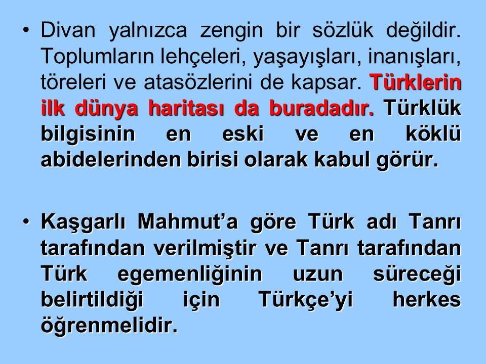 Türklerin ilk dünya haritası da buradadır. Türklük bilgisinin en eski ve en köklü abidelerinden birisi olarak kabul görür.Divan yalnızca zengin bir sö