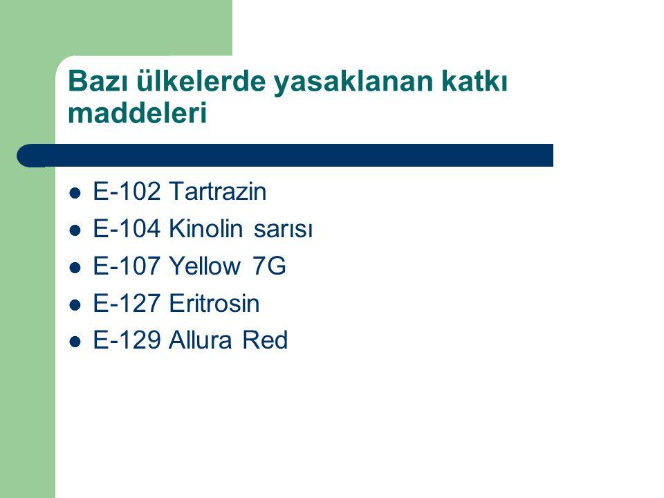 Bazı ülkelerde yasaklanan katkı maddeleri E-102 Tartrazin E-104 Kinolin sarısı E-107 Yellow 7G E-127 Eritrosin E-129 Allura Red