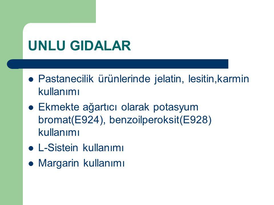 UNLU GIDALAR Pastanecilik ürünlerinde jelatin, lesitin,karmin kullanımı Ekmekte ağartıcı olarak potasyum bromat(E924), benzoilperoksit(E928) kullanımı L-Sistein kullanımı Margarin kullanımı