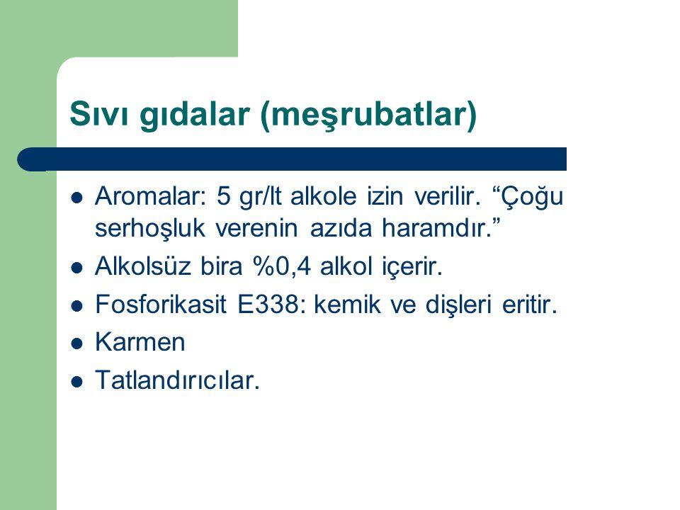 Sıvı gıdalar (meşrubatlar) Aromalar: 5 gr/lt alkole izin verilir.