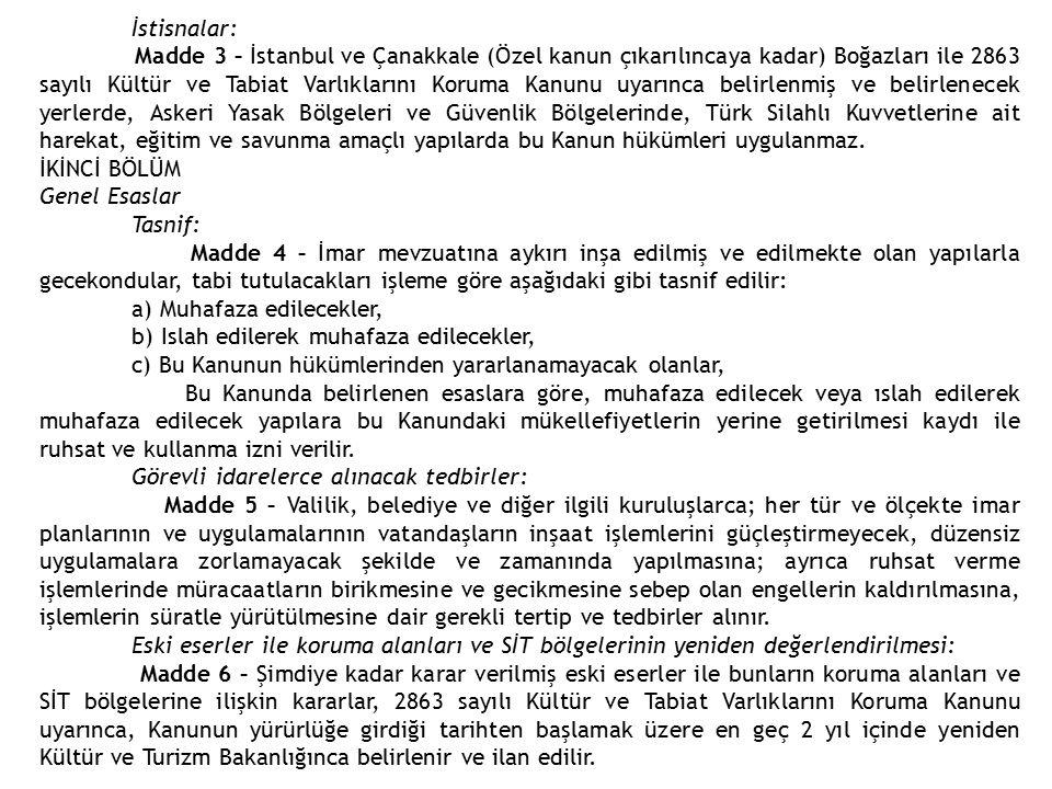 İstisnalar: Madde 3 – İstanbul ve Çanakkale (Özel kanun çıkarılıncaya kadar) Boğazları ile 2863 sayılı Kültür ve Tabiat Varlıklarını Koruma Kanunu uya