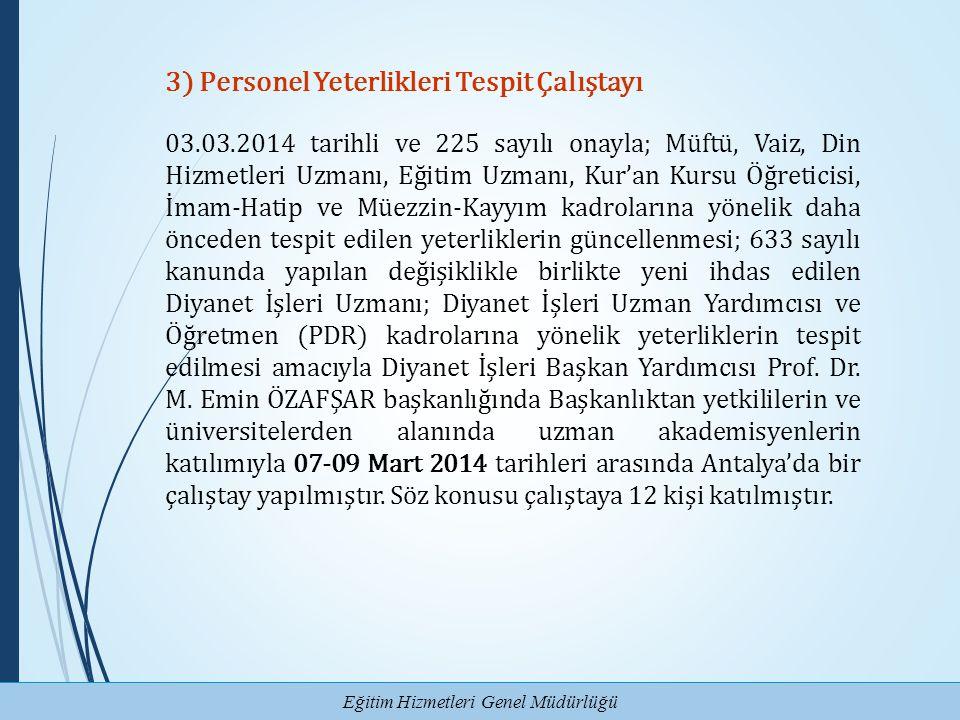 Eğitim Hizmetleri Genel Müdürlüğü 3) Personel Yeterlikleri Tespit Çalıştayı 03.03.2014 tarihli ve 225 sayılı onayla; Müftü, Vaiz, Din Hizmetleri Uzman