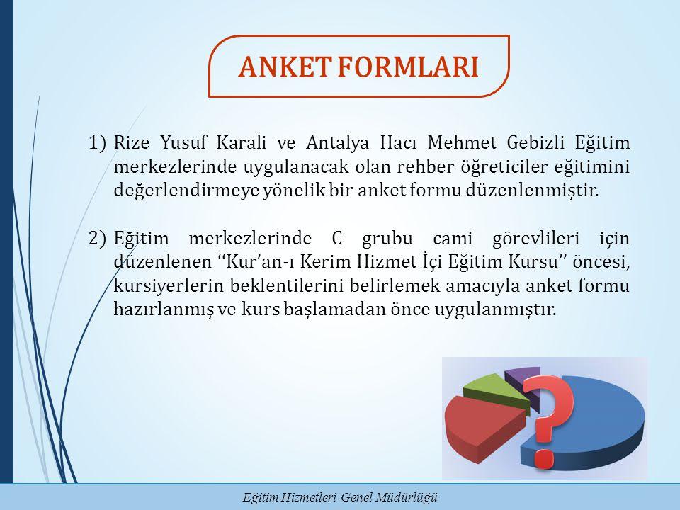 Eğitim Hizmetleri Genel Müdürlüğü 1)Rize Yusuf Karali ve Antalya Hacı Mehmet Gebizli Eğitim merkezlerinde uygulanacak olan rehber öğreticiler eğitimin