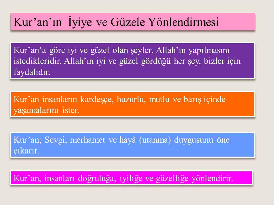 Kur'an'ın İyiye ve Güzele Yönlendirmesi Kur'an'a göre iyi ve güzel olan şeyler, Allah'ın yapılmasını istedikleridir.