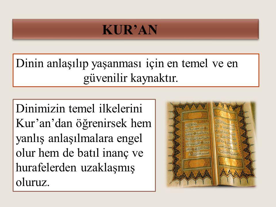 Dinin anlaşılıp yaşanması için en temel ve en güvenilir kaynaktır.