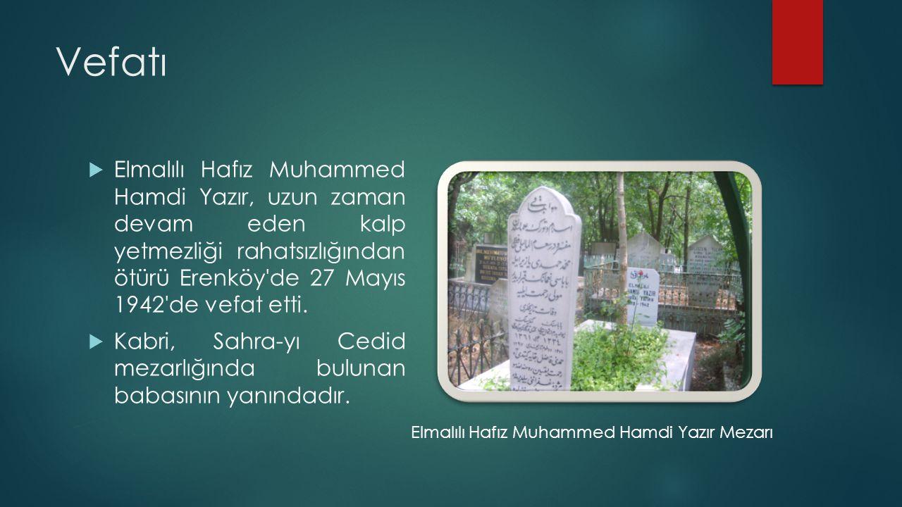 Vefatı  Elmalılı Hafız Muhammed Hamdi Yazır, uzun zaman devam eden kalp yetmezliği rahatsızlığından ötürü Erenköy'de 27 Mayıs 1942'de vefat etti.  K