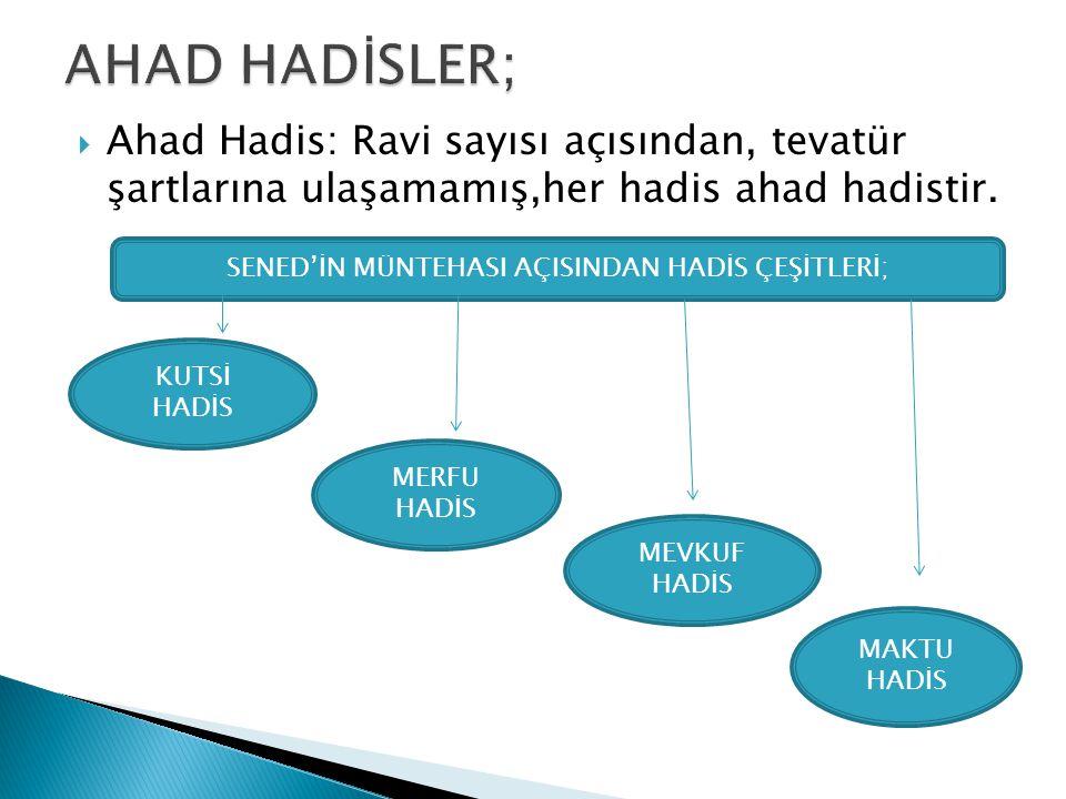 Ahad Hadis: Ravi sayısı açısından, tevatür şartlarına ulaşamamış,her hadis ahad hadistir. SENED'İN MÜNTEHASI AÇISINDAN HADİS ÇEŞİTLERİ; KUTSİ HADİS
