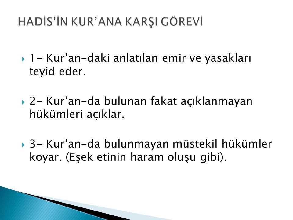  1- Kur'an-daki anlatılan emir ve yasakları teyid eder.  2- Kur'an-da bulunan fakat açıklanmayan hükümleri açıklar.  3- Kur'an-da bulunmayan müstek