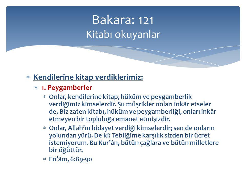  Kendilerine kitap verdiklerimiz:  1. Peygamberler  Onlar, kendilerine kitap, hüküm ve peygamberlik verdiğimiz kimselerdir. Şu müşrikler onları ink