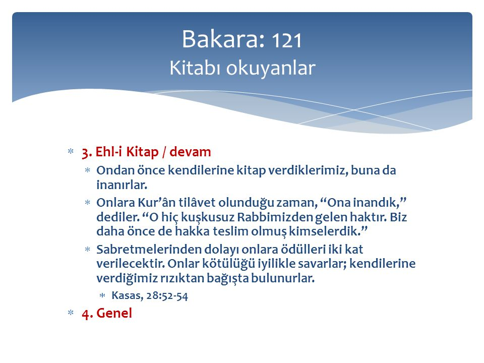 Tilâvet  Okumak  Tâbi olmak, izlemek  And olsun Güneşe ve aydınlığına,  Ve onu izlediğinde Aya,  Şems, 91:1-2  Kur'ân-ı Kerimi tecvid ve tertil üzere okumak ve ona tâbi olmak  Tertil: tane tane, güzelce, hakkını vererek okumak  Kur'ân'da 63 yerde geçer  Allah'ın kitabı hakkında kullanılır Bakara: 121 Tilâvet