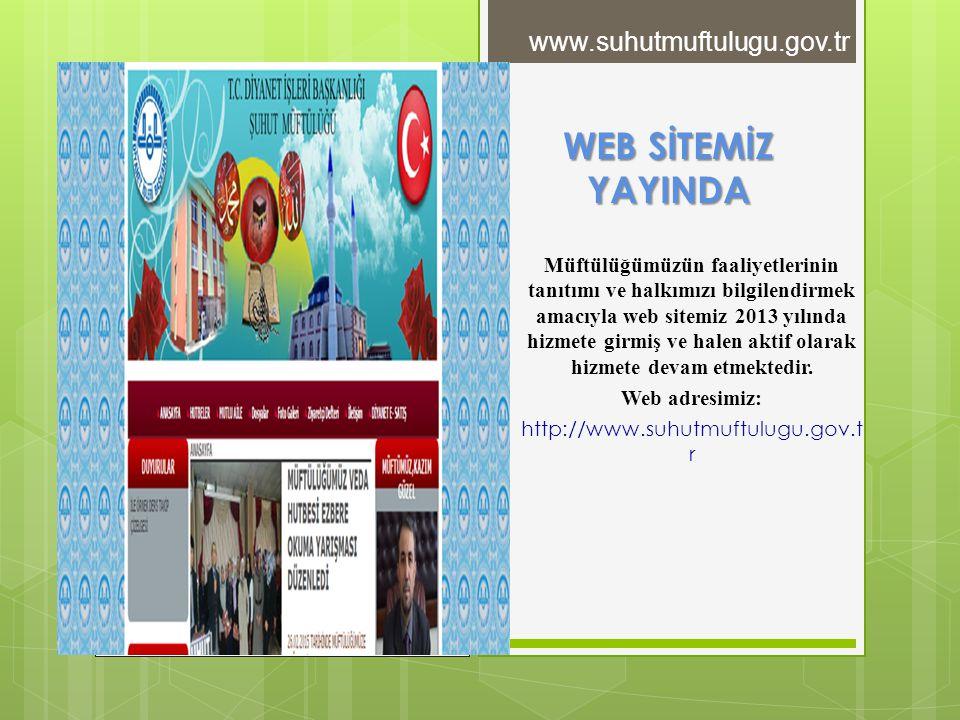 WEB SİTEMİZ YAYINDA Müftülüğümüzün faaliyetlerinin tanıtımı ve halkımızı bilgilendirmek amacıyla web sitemiz 2013 yılında hizmete girmiş ve halen akti