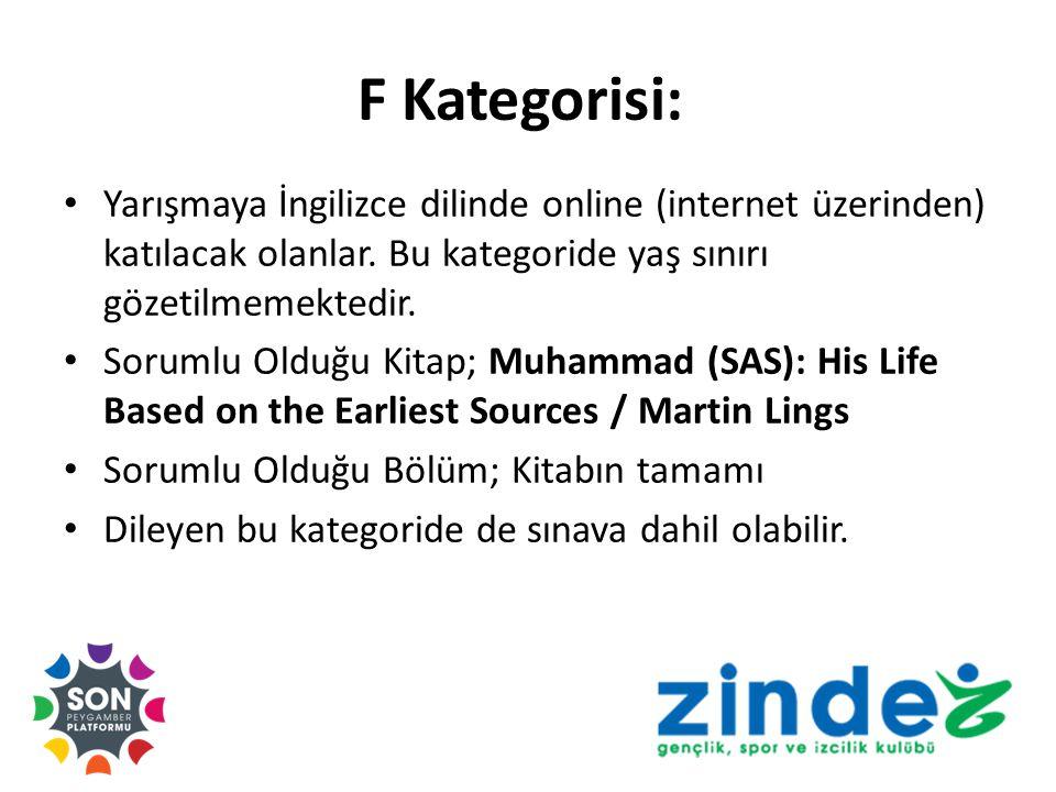 F Kategorisi: Yarışmaya İngilizce dilinde online (internet üzerinden) katılacak olanlar.