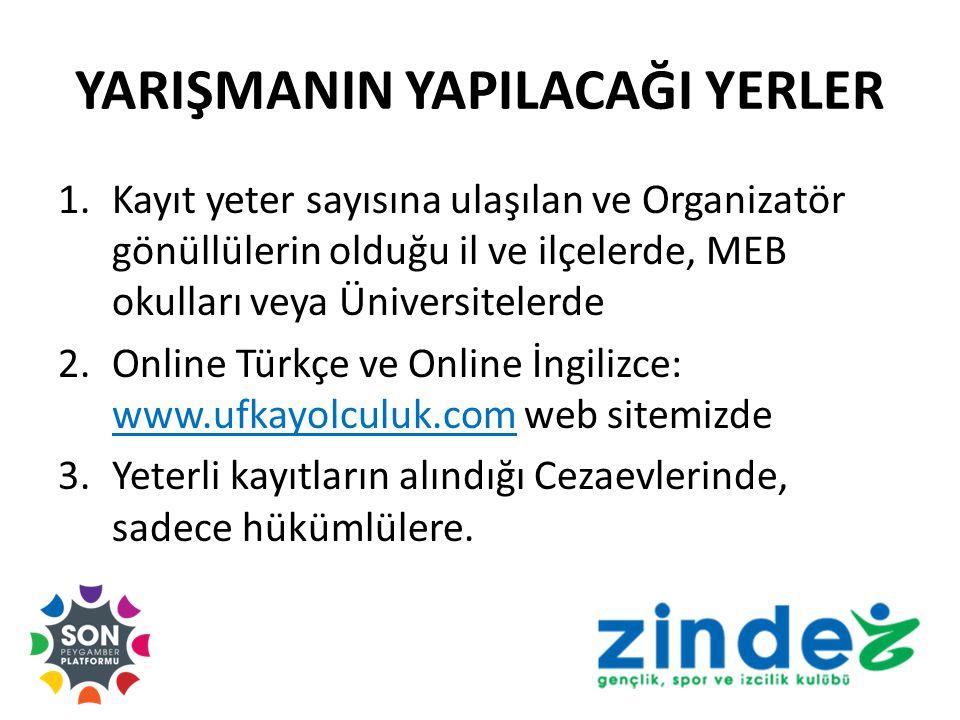 YARIŞMANIN YAPILACAĞI YERLER 1.Kayıt yeter sayısına ulaşılan ve Organizatör gönüllülerin olduğu il ve ilçelerde, MEB okulları veya Üniversitelerde 2.Online Türkçe ve Online İngilizce: www.ufkayolculuk.com web sitemizde 3.Yeterli kayıtların alındığı Cezaevlerinde, sadece hükümlülere.