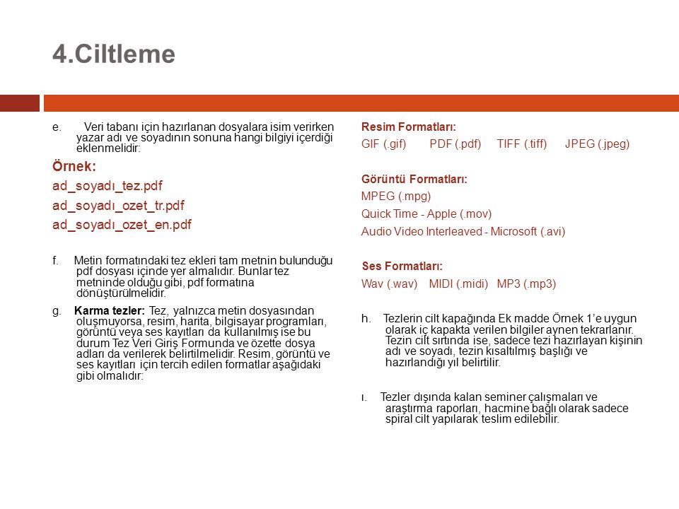 4.Ciltleme e. Veri tabanı için hazırlanan dosyalara isim verirken yazar adı ve soyadının sonuna hangi bilgiyi içerdiği eklenmelidir: Örnek: ad_soyadı_