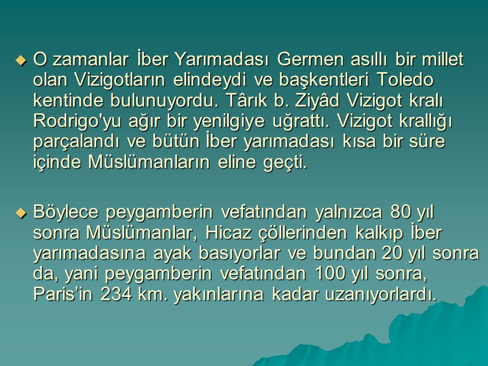  O zamanlar İber Yarımadası Germen asıllı bir millet olan Vizigotların elindeydi ve başkentleri Toledo kentinde bulunuyordu. Târık b. Ziyâd Vizigot k