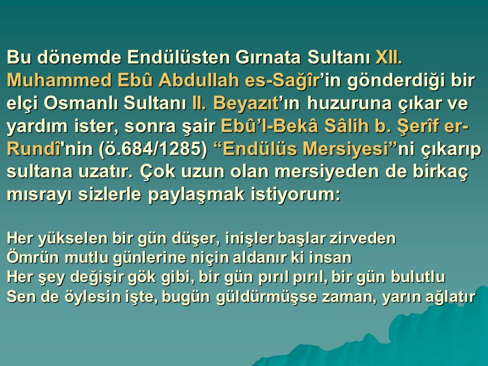 Bu dönemde Endülüsten Gırnata Sultanı XII. Muhammed Ebû Abdullah es-Sağîr'in gönderdiği bir elçi Osmanlı Sultanı II. Beyazıt'ın huzuruna çıkar ve yard