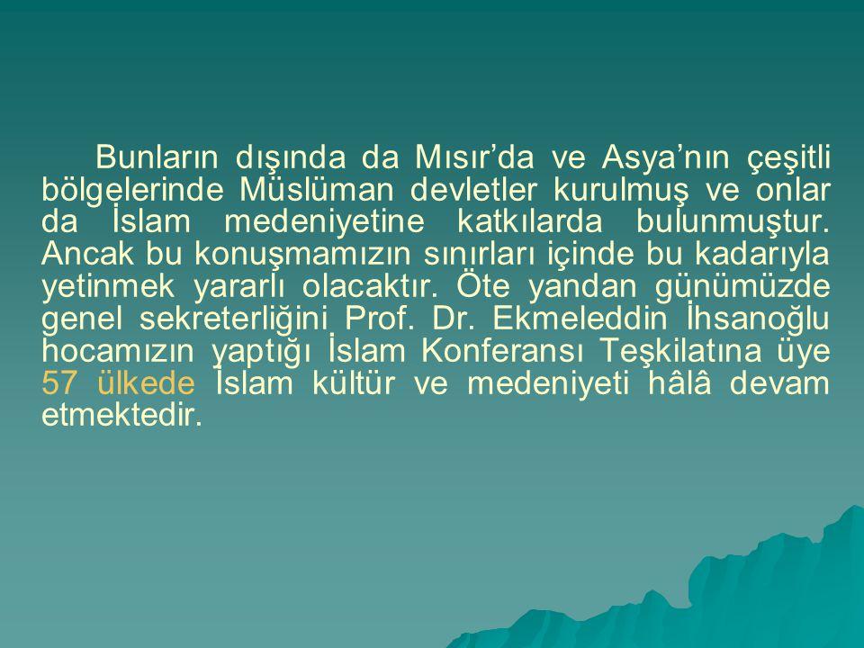 Bunların dışında da Mısır'da ve Asya'nın çeşitli bölgelerinde Müslüman devletler kurulmuş ve onlar da İslam medeniyetine katkılarda bulunmuştur. Ancak