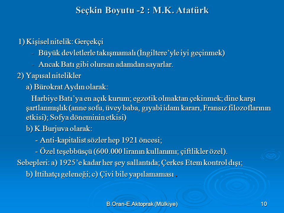 B.Oran-E.Aktoprak (Mülkiye)10 Seçkin Boyutu -2 : M.K.