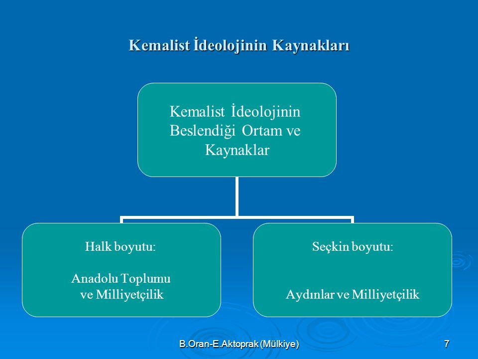 B.Oran-E.Aktoprak (Mülkiye)7 Kemalist İdeolojinin Kaynakları Kemalist İdeolojinin Beslendiği Ortam ve Kaynaklar Halk boyutu: Anadolu Toplumu ve Milliyetçilik Seçkin boyutu: Aydınlar ve Milliyetçilik