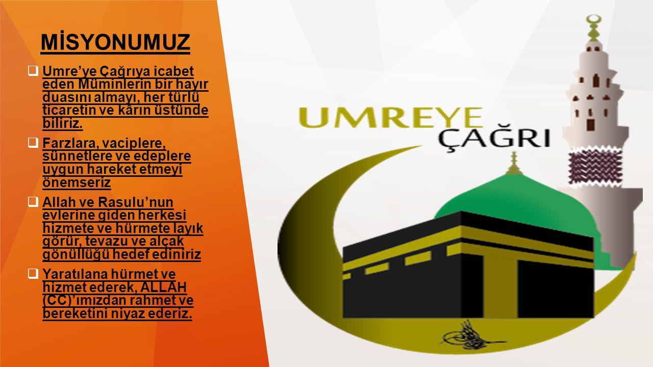 MİSYONUMUZ  Umre'ye Çağrıya icabet eden Müminlerin bir hayır duasını almayı, her türlü ticaretin ve kârın üstünde biliriz.  Farzlara, vaciplere, sün