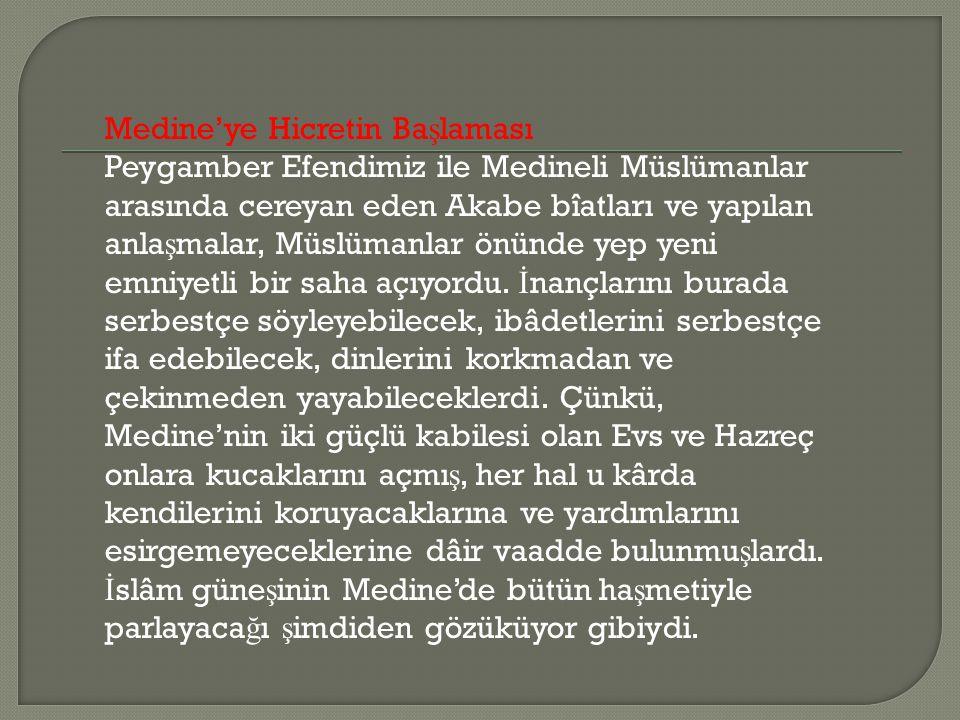 Medine'ye Hicretin Ba ş laması Peygamber Efendimiz ile Medineli Müslümanlar arasında cereyan eden Akabe bîatları ve yapılan anla ş malar, Müslümanlar önünde yep yeni emniyetli bir saha açıyordu.